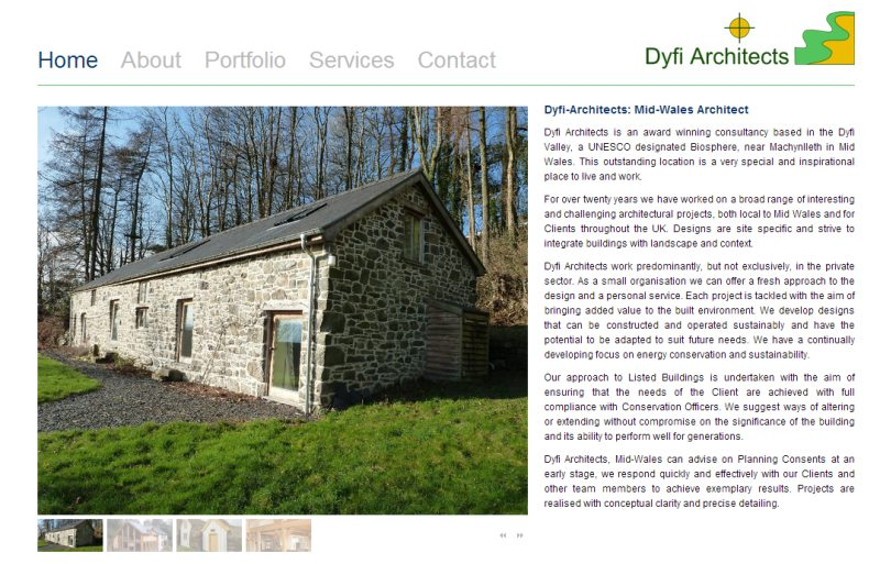 Screen shot of the Dyfi Architects